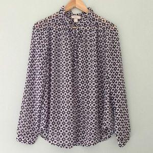 EUC LOFT Ruffle Collar Long Sleeve Blouse | M